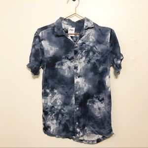 Zara tie dye relaxed fit button down small